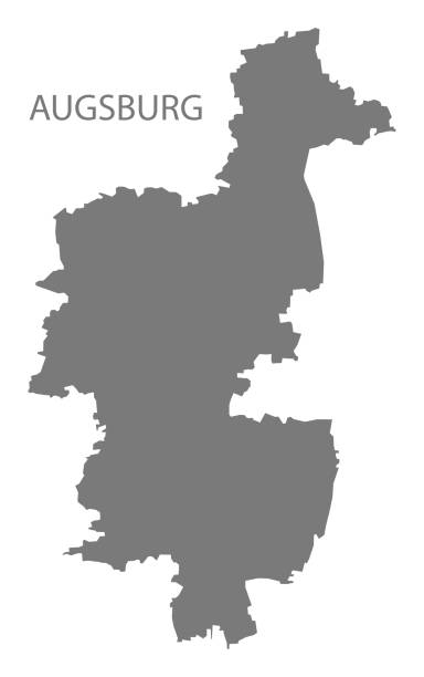 Augsburg-graue Kreiskarte von Bayern Deutschland – Vektorgrafik