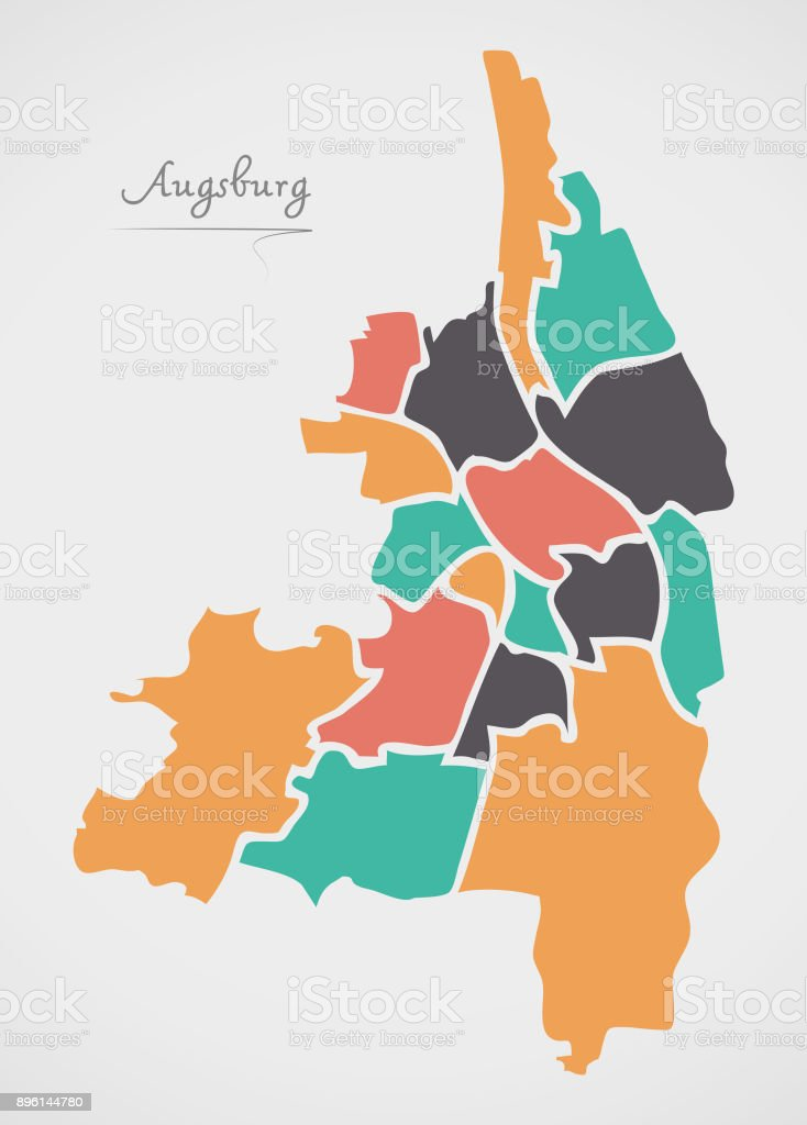 Augsburg Map With Boroughs And Modern Round Shapes Stock Vector Art