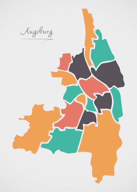 Augsburg-Karte mit Stadtbezirken und moderne Runde Formen – Vektorgrafik