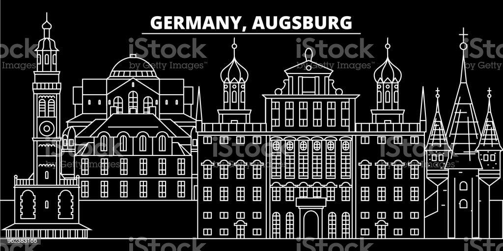 Augsburg Silhouette Skyline. Deutschland - Vektor-Stadt Augsburg, deutsche lineare Architektur, Gebäude. Augsburg Reisen Darstellung, Gliederung Wahrzeichen. Deutschland-flach-Symbol, deutsche Linie banner – Vektorgrafik