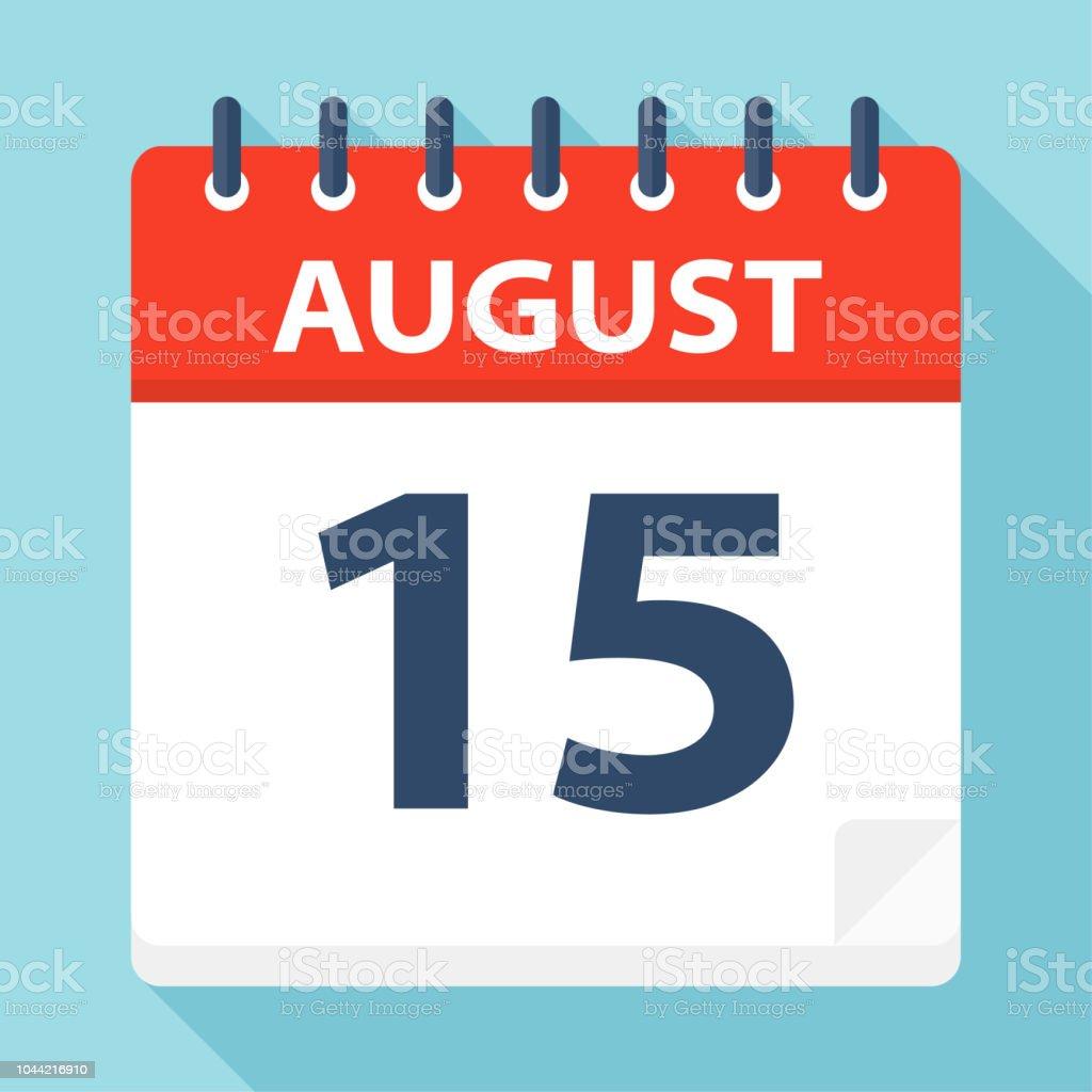Calendario 216.August 15 Calendar Icon Stock Illustration Download Image
