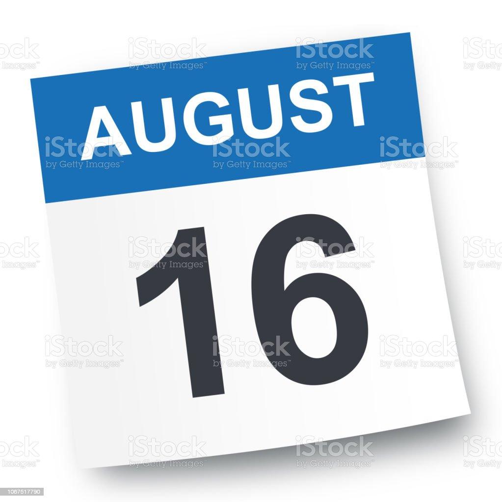August 16 - Calendar Icon vector art illustration