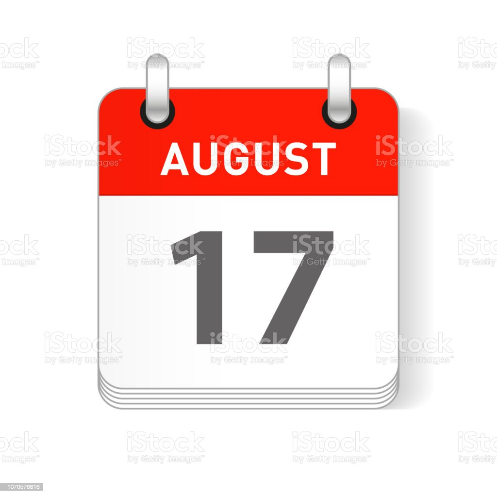 August 17 Calendar Date Design vector art illustration