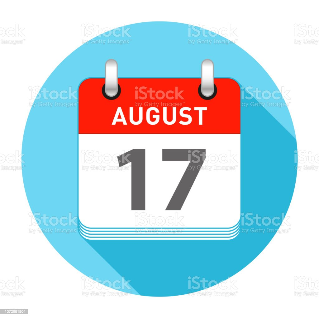 August 17 Single Day Calendar Flat Style vector art illustration