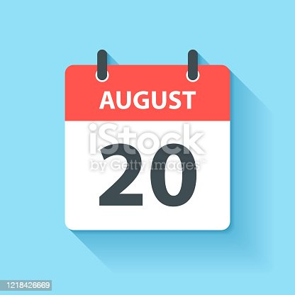 istock August 20 - Daily Calendar Icon in flat design style 1218426669