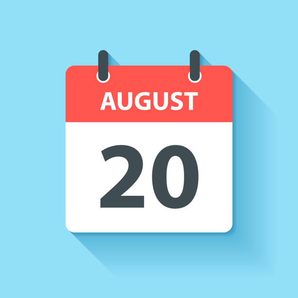 August 20 - Daily Calendar Icon in flat design style vector art illustration