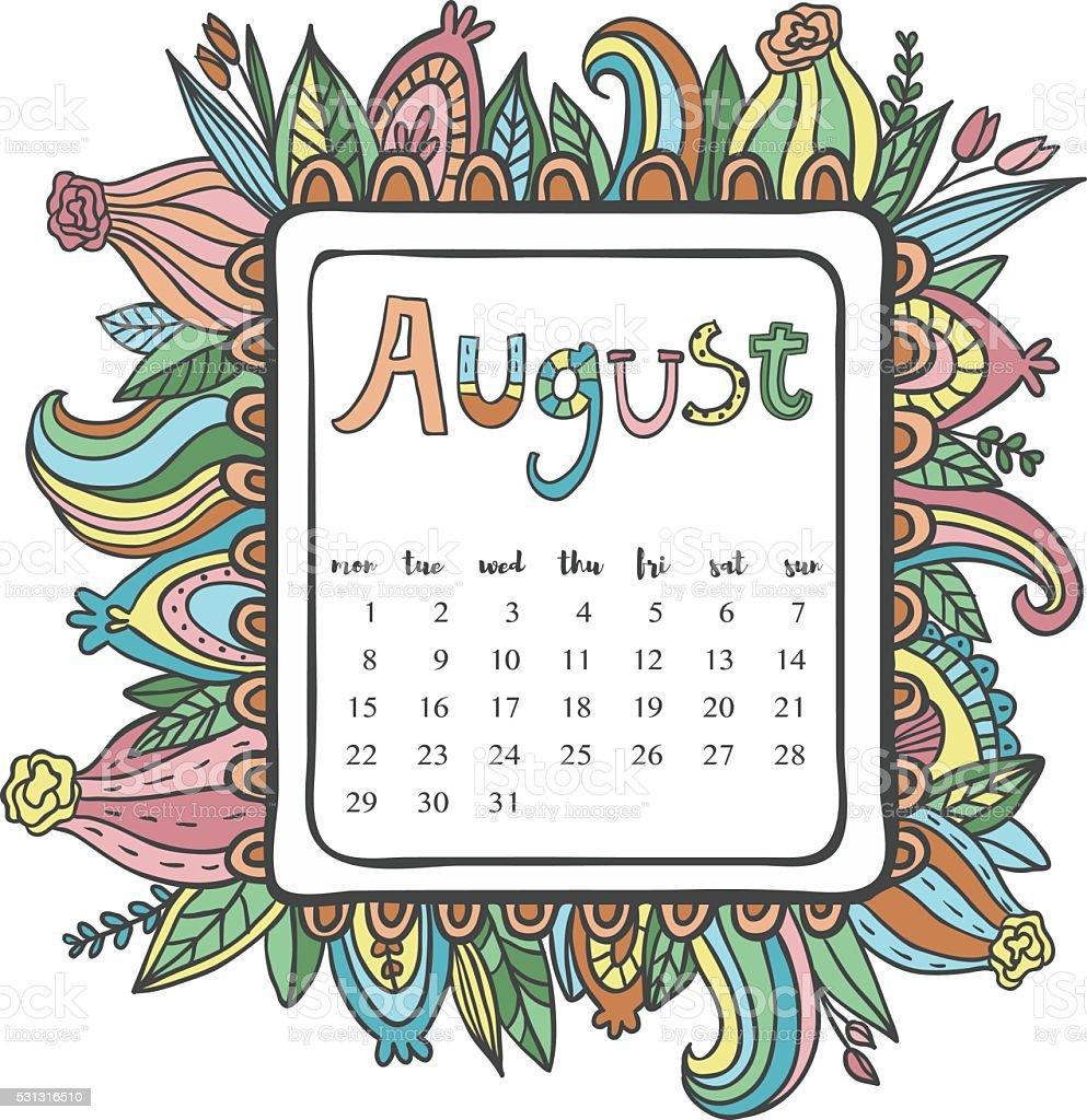 august 2016 calendar doodle frame stock vector art more images of