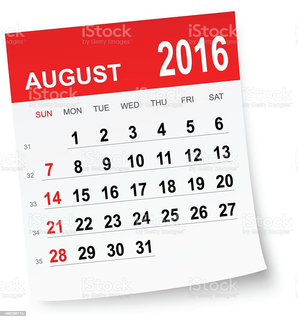 August 2016 calendar vector art illustration