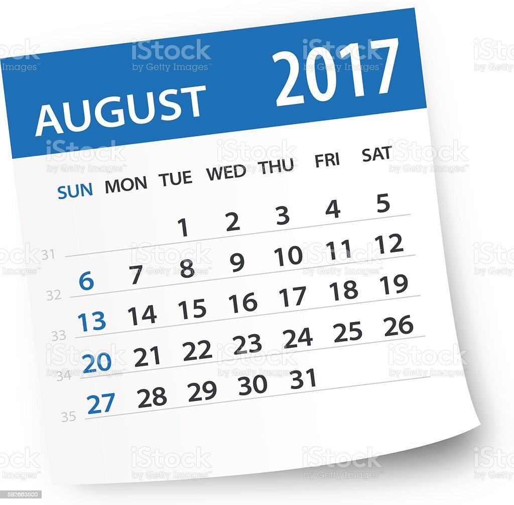 August 2017 calendar leaf - Illustration vector art illustration