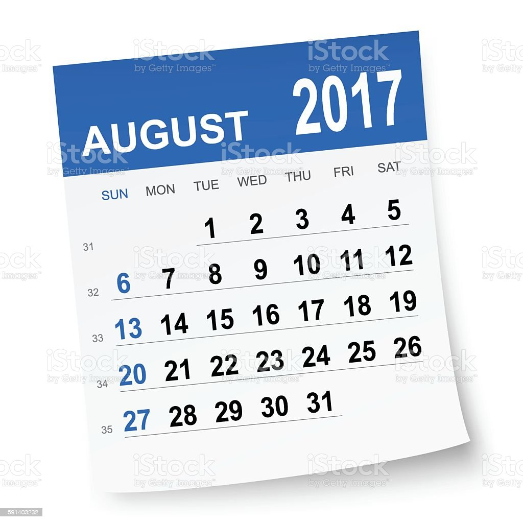 August 2017 calendar vector art illustration