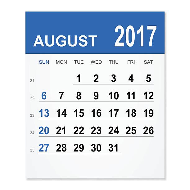 August 2017 calendar vector art illustration