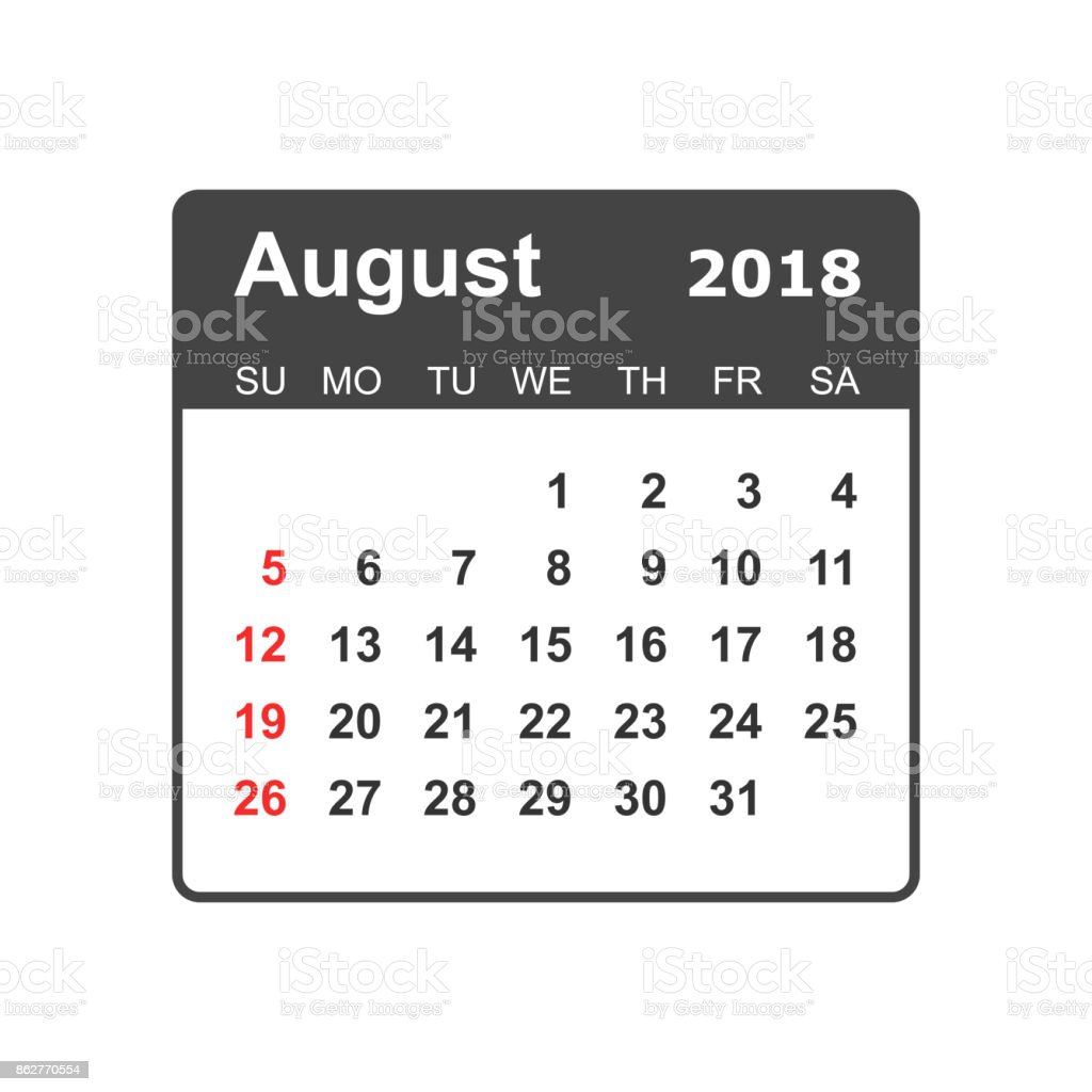 august 2018 calendar calendar planner design template week starts on sunday business vector