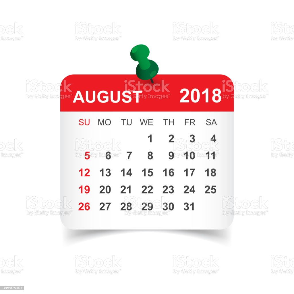 August 2018 calendar. Calendar sticker design template. Week starts on Sunday. Business vector illustration. vector art illustration