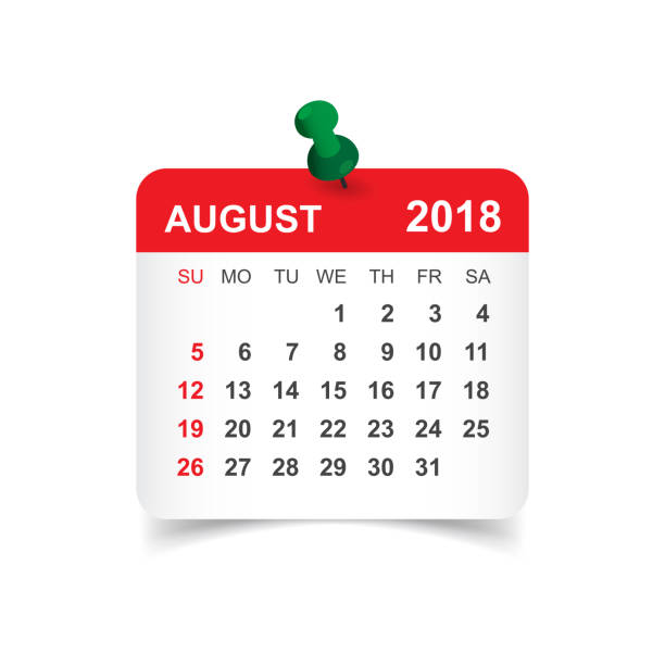August 2018 calendar. Calendar sticker design template. Week starts on Sunday. Business vector illustration. vector art illustration