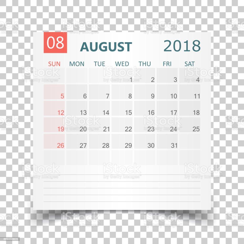 august 2018 calendar calendar sticker design template week starts on sunday business vector