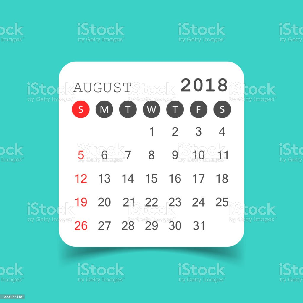 august 2018 calendar calendar sticker design template week starts on sunday business vector