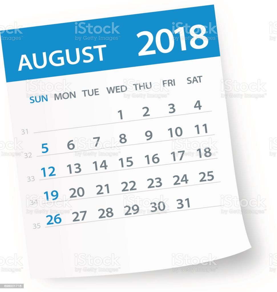 August 2018 Calendar Leaf - Illustration vector art illustration