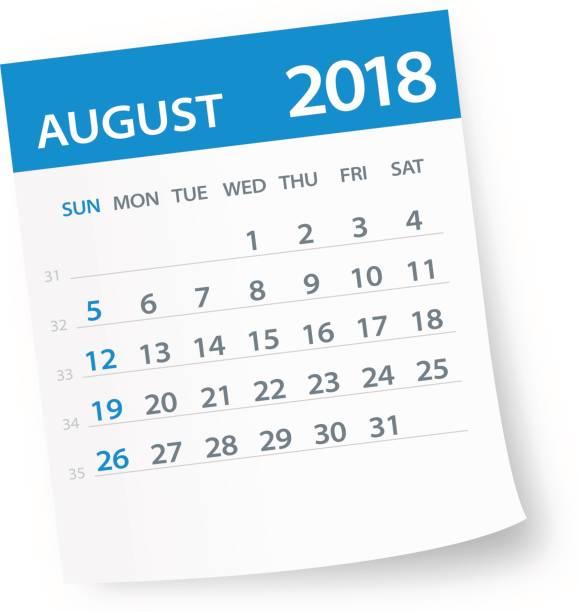 August 2018 Calendar Leaf - Illustration vector art illustration