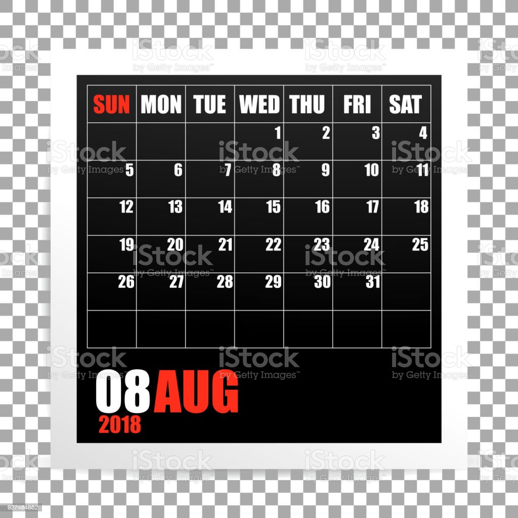 august 2018 calendar photo frame on transparent background royalty free august 2018 calendar photo frame