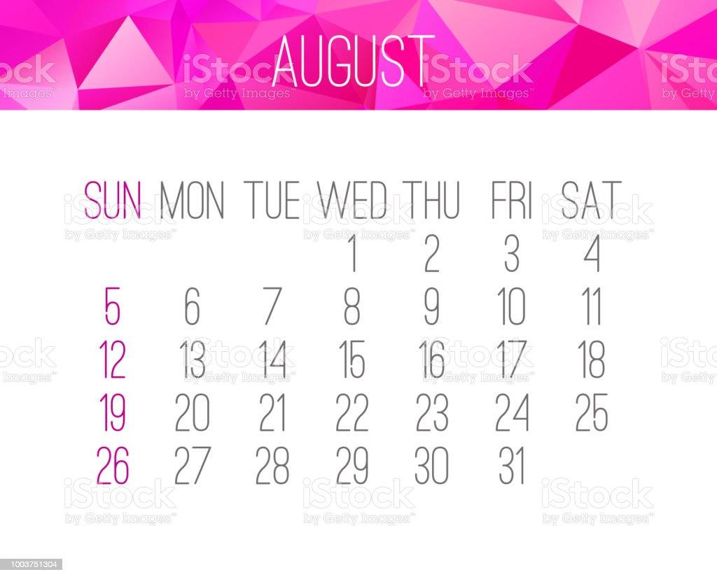 august 2018 calendar royalty free august 2018 calendar stock vector art more images