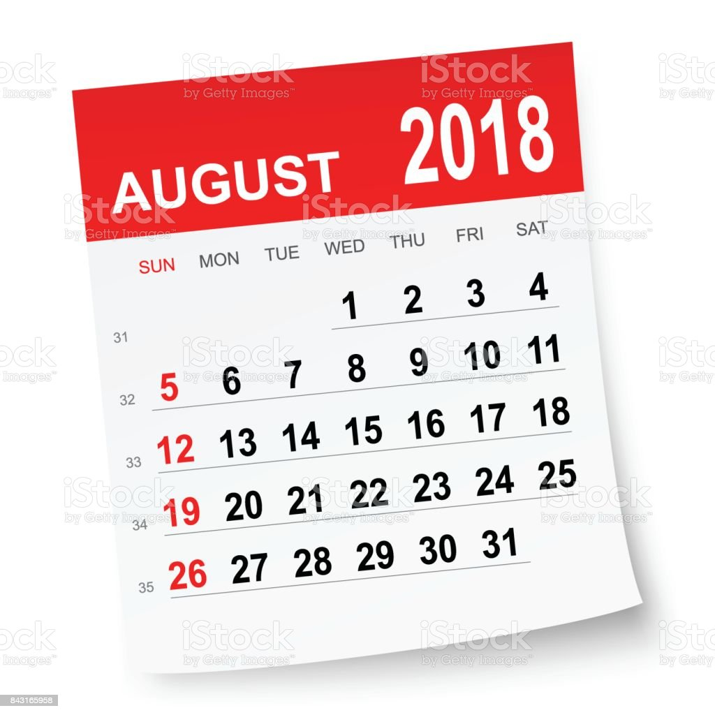 August 2018 calendar vector art illustration