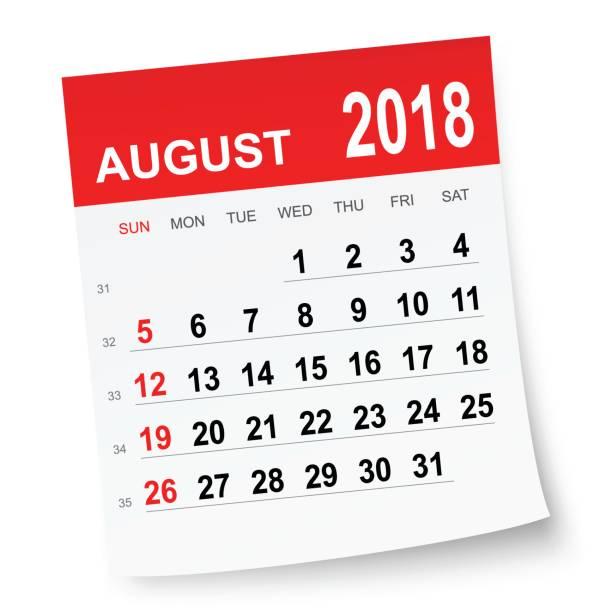 August 2018 calendar vector art illustration