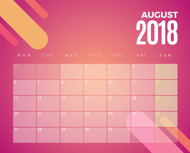 August 2018 Calendar. Vector Template vector art illustration