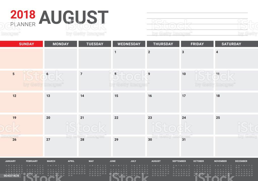 August 2018 planner calendar vector illustration vector art illustration