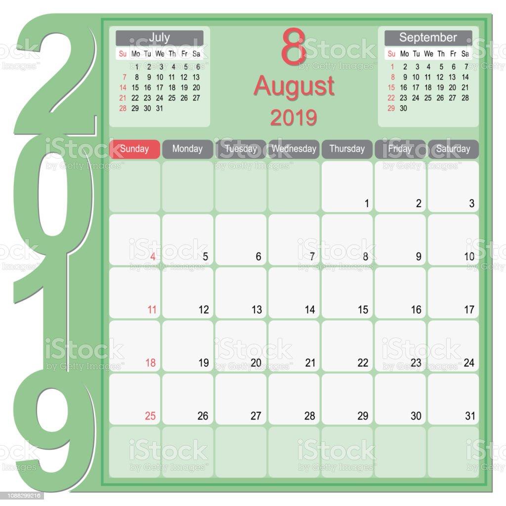Calendrier Mois Aout 2019.Aout 2019 Calendrier Mensuel Planificateur Design Vecteurs