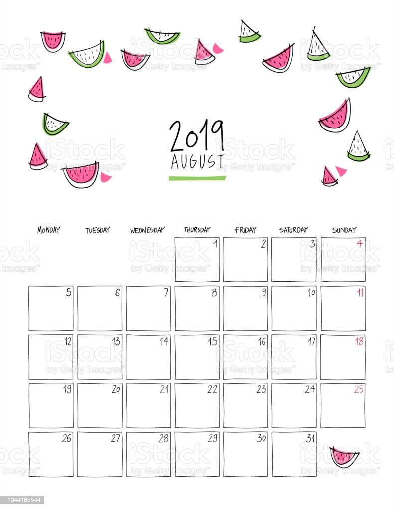 Calendario Vector 2019.August 2019 Wall Calendar Stock Illustration Download Image Now