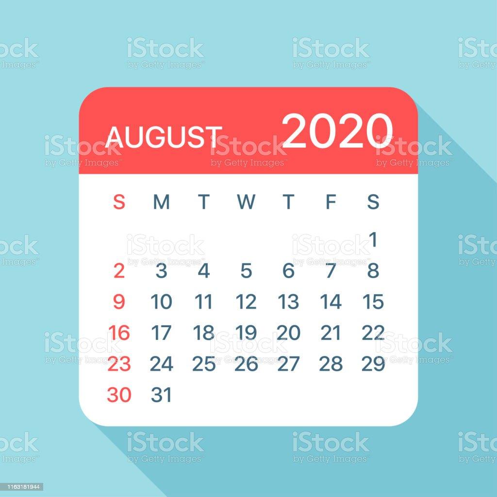 Calendario De Agosto 2020.Ilustracion De Agosto 2020 Calendario Hoja Ilustracion Vectorial Y Mas Vectores Libres De Derechos De 2020
