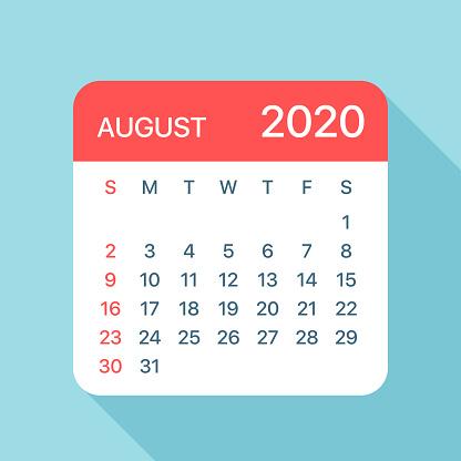 Agosto 2020 Calendario.Ilustracion De Agosto 2020 Calendario Hoja Ilustracion Vectorial Y Mas Vectores Libres De Derechos De 2020