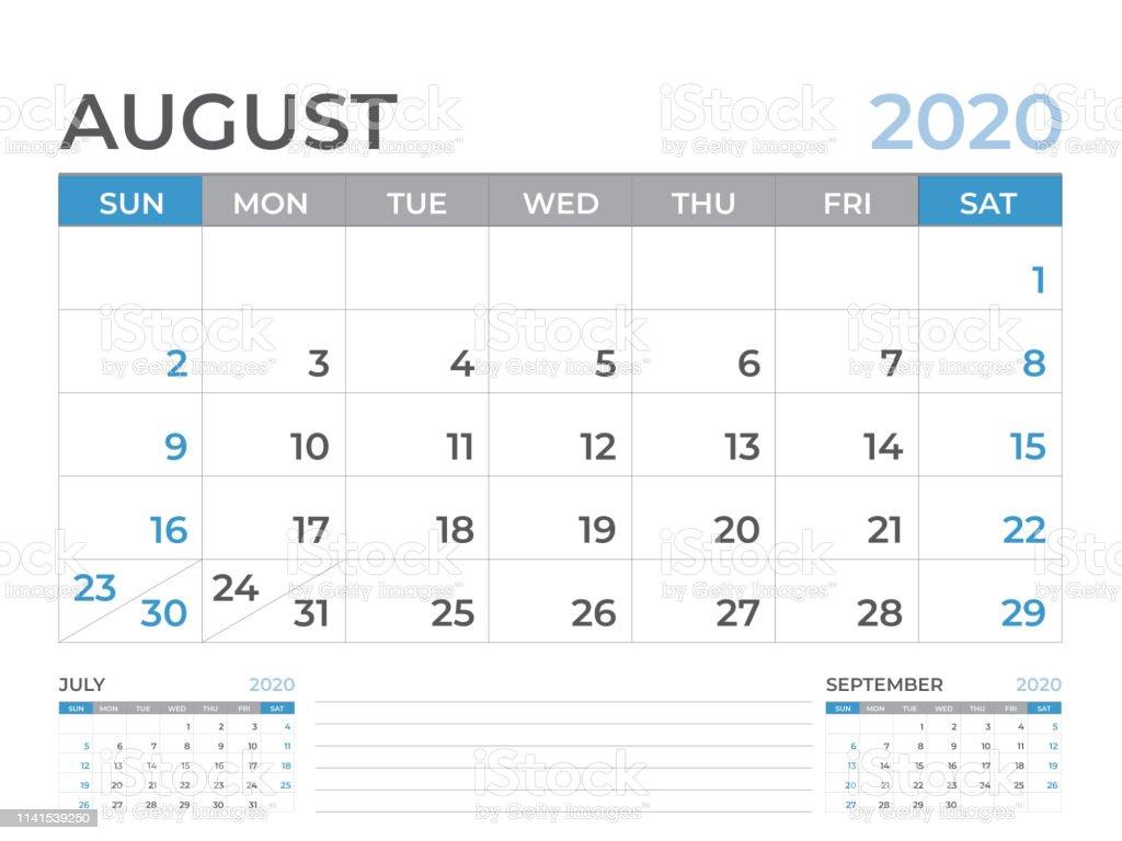 Calendario De Agosto 2020.Ilustracion De Agosto 2020 Plantilla De Calendario Diseno Del