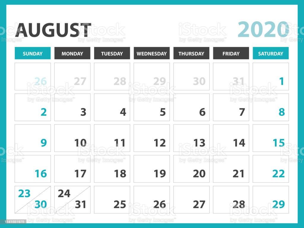 Agosto 2020 Calendario.Ilustracion De Agosto 2020 Plantilla De Calendario Diseno