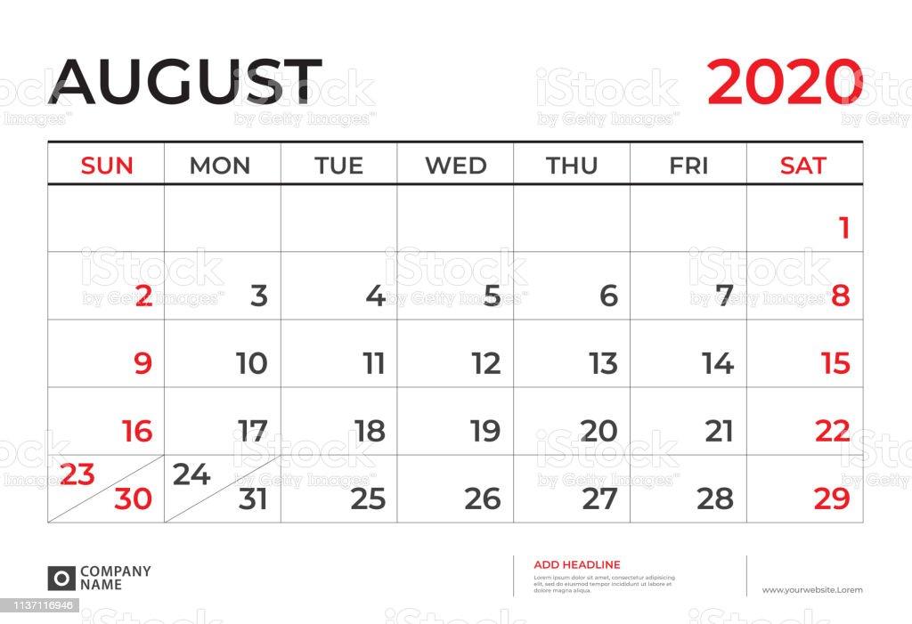 Calendario Agosto 2020.Ilustracion De Agosto 2020 Plantilla De Calendario Diseno