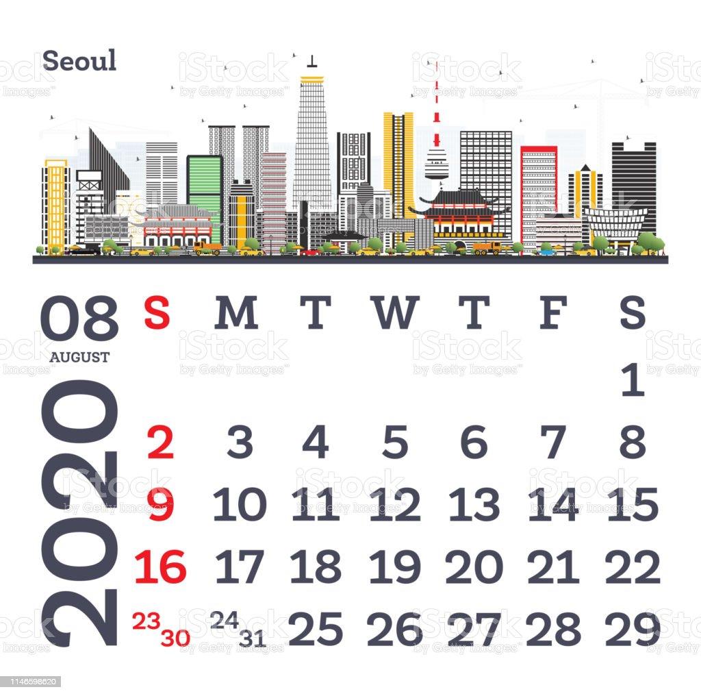 Calendrier City.Aout 2020 Calendrier Modele Avec Horizon De Seoul City