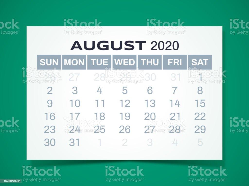 Calendrier Aout 2020.Calendrier Aout 2020 Vecteurs Libres De Droits Et Plus D
