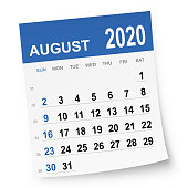August 2020 calendar isolated on a white background. Need another version, another month, another year... Check my portfolio. Vector Illustration (EPS10, well layered and grouped). Easy to edit, manipulate, resize or colorize.