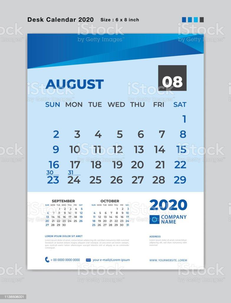 Calendrier Du Mois D Aout 2020.Aout 2020 Modele De Mois Calendrier De Bureau Pour 2020