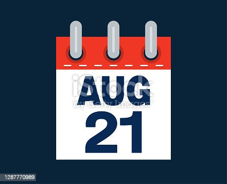 August twenty first calendar date of the month vector illustration