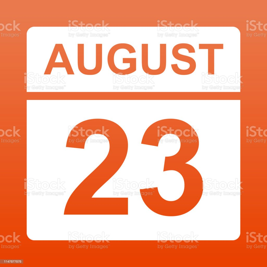 August 23. White calendar on a colored background. Day on the...