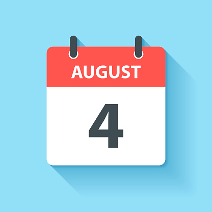 August 4 - Daily Calendar Icon in flat design style