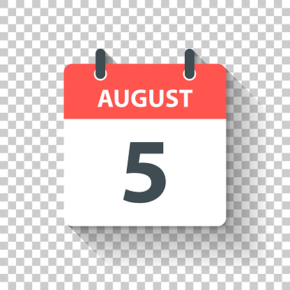 August 5 - Daily Calendar Icon in flat design style