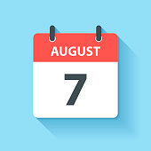 August 7. Calendar Icon with long shadow in a Flat Design style. Daily calendar isolated on blue background. Vector Illustration (EPS10, well layered and grouped). Easy to edit, manipulate, resize or colorize.