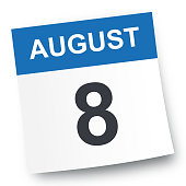 August 8 - Calendar Icon - Vector Illustration