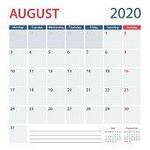 2020 August Calendar Planner Vector Template. Week starts Monday