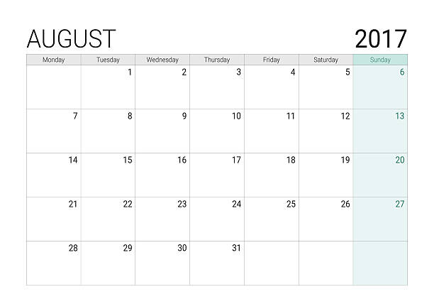 2017 August calendar (or desk planner) vector art illustration