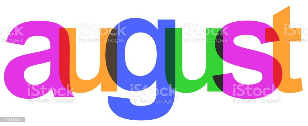 August colorful month of the year - stock vector vector art illustration