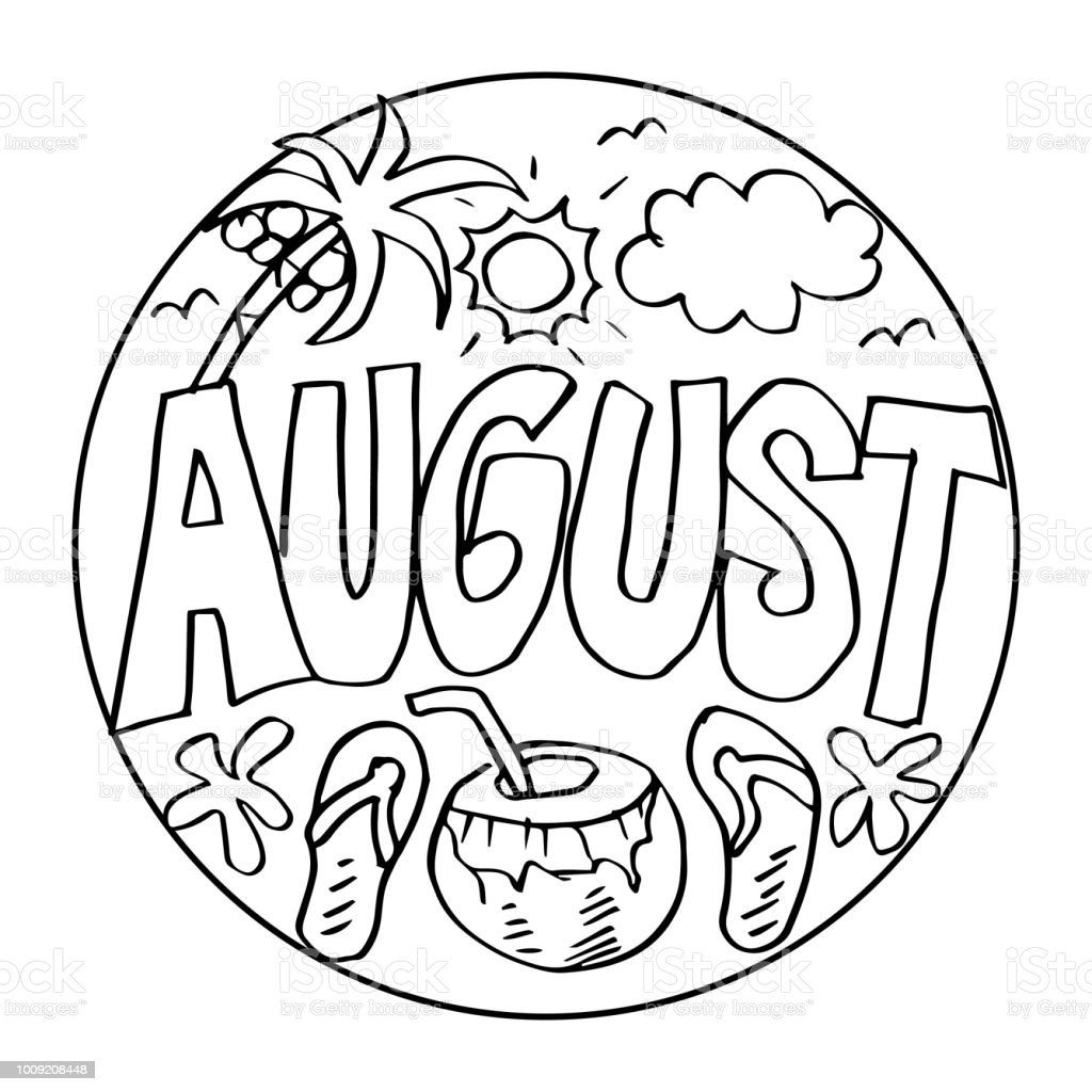 August coloring pages for kids stock illustration download image