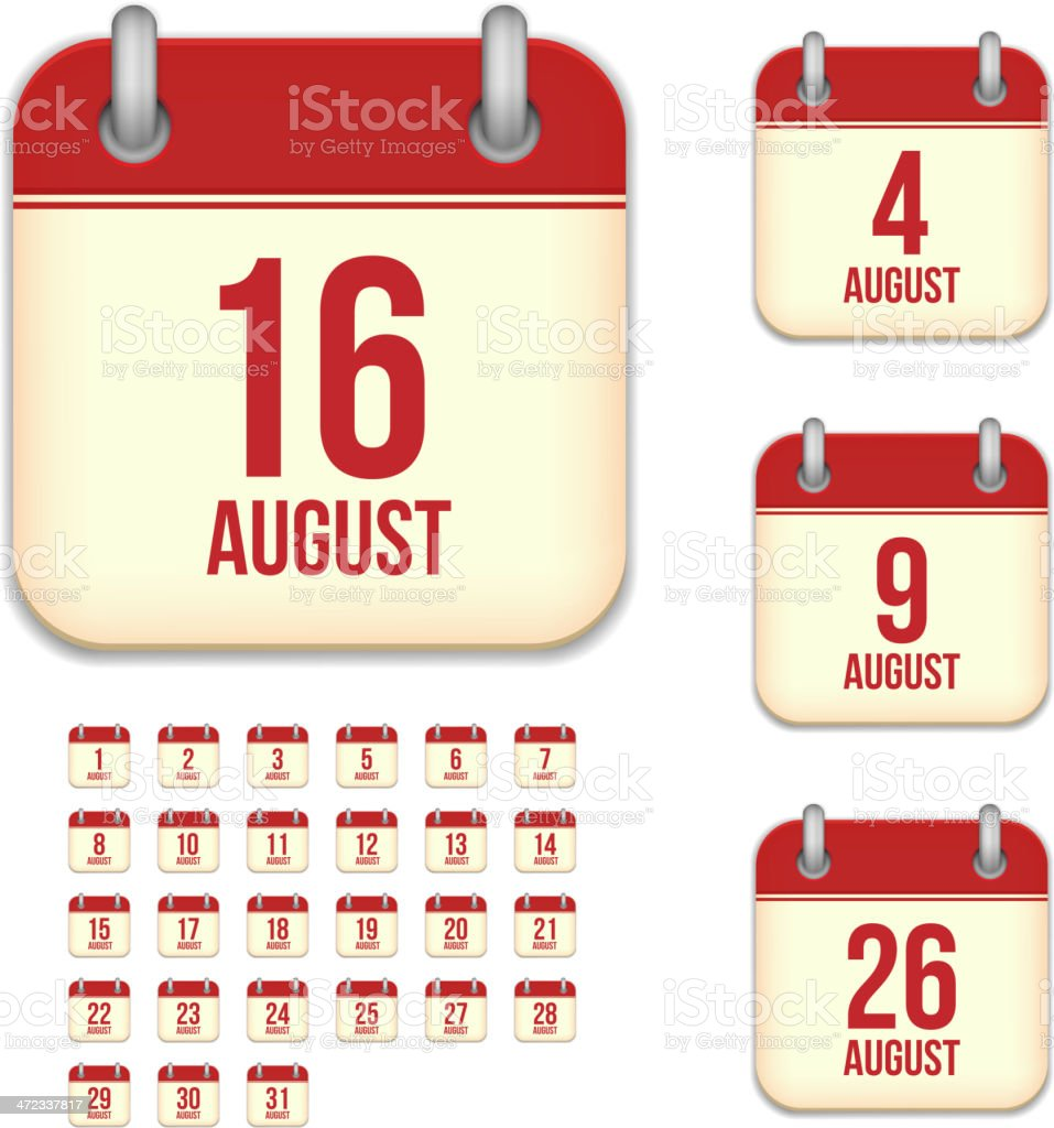 August days. Vector calendar icons vector art illustration